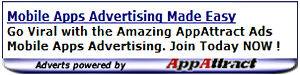 a sample 300 X 75 widget ad from AppAttract